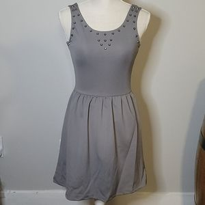 NWT Poof Couture Gray Dress W/Metal Accents Small